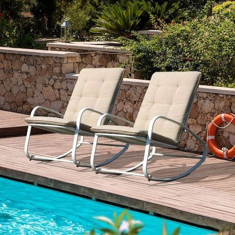 Patio Steel Rocking Chairs (Set of 2)