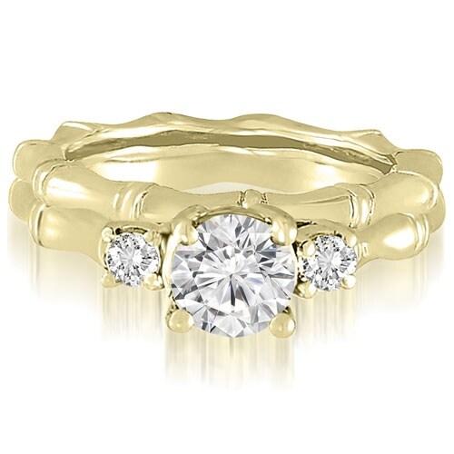 1.00 cttw. 14K Yellow Gold Antique Three-Stone Round Diamond Bridal Set
