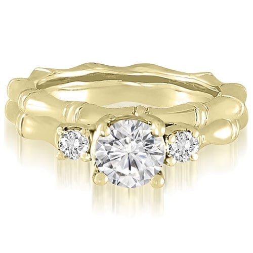 1.25 cttw. 14K Yellow Gold Antique Three-Stone Round Diamond Bridal Set