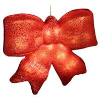 "15.5"" Red Glittered Battery Operated Lighted LED Christmas Bow Decoration"