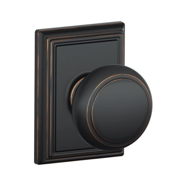 Schlage F10-AND-ADD Passage Andover Door Knobset with the Decorative Addison Rose