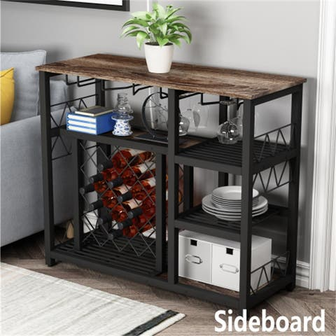 [Pre-Sale]Wine Bar Cabinet Buffet Table with 21 Bottles Brown&Black