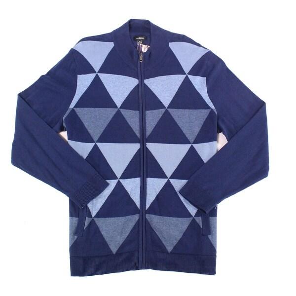 Alfani Blue Mens Size Small S Full Zip Triangle Mock-Neck Sweater