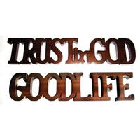 Offex Handmade Solid Mahogany Wood Brown Finish Trust In God Good Life Decorative Letters