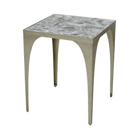 Macdonald Firs - 22 Inch Accent Table Antique Silver Leaf/Grey Stone/Grey Stone Finish