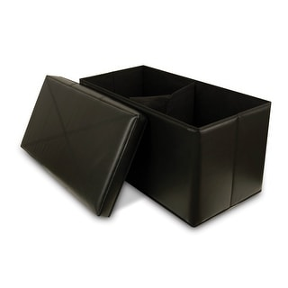 Collapsible Faux-Leather Storage Ottoman Bench, Black