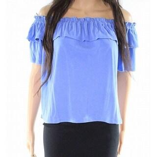 Harlowe & Graham Blue Womens XS Ruffled Smocked Off Shoulder Knit Top 690