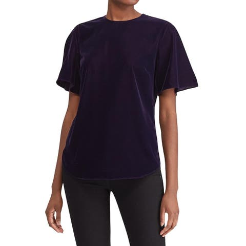 Lauren Ralph Lauren Womens Velvet Flutter-Sleeve Top 14 Purple