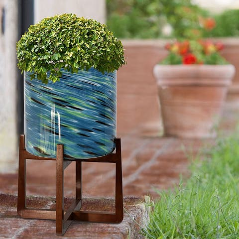 StyleCraft Vivian Glass Planter on Wood Stand