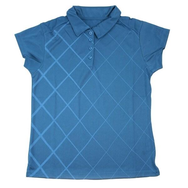 PGA TOUR Women's Polo Shirt - Blue Checkered - Large