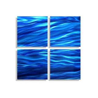 Statements2000 Modern Metal Wall Art Abstract Blue Accent Decor Painting by Jon Allen - Adrift