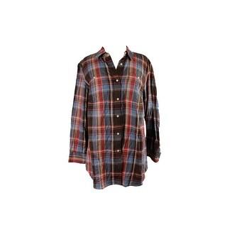Lauren Ralph Lauren Plus Size Blue Multi Plaid Twill Shirt 1X