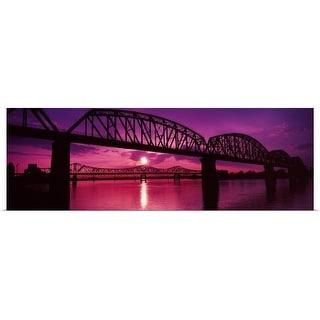 """""""Bridges over a river at dusk, Louisville, Kentucky"""" Poster Print"""