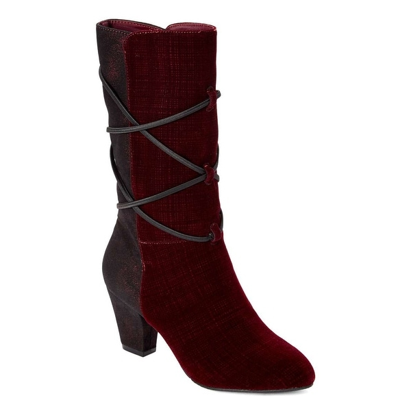 601ce4f938b New York Transit Womens Coming Hit Fabric Pointed Toe Mid-Calf Fashion Boots