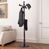 Costway 71'' Free Standing Solid Wood Coat Hat Scarf Rack Hanger Tree Stand Home Furni