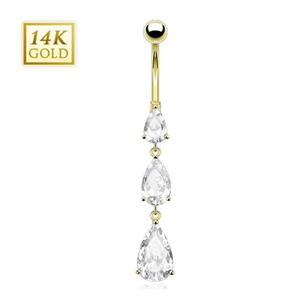 14 Karat Solid Yellow Gold Cascading Teardrop CZs Navel Belly Button Ring