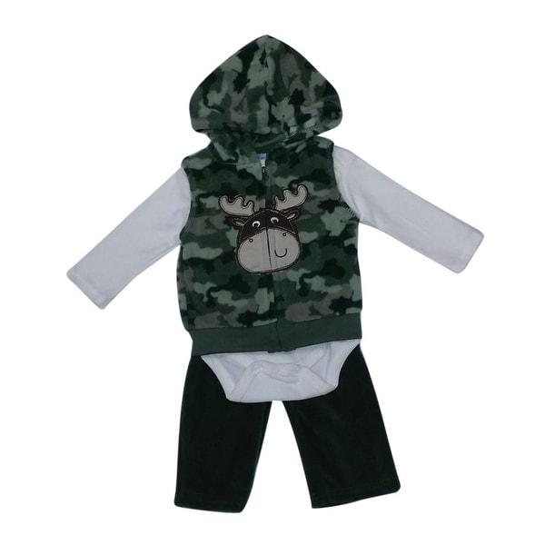 Weplay Baby Boys Olive Off-White Camo Moose Vest Bodysuit 3 Pc Pant Set