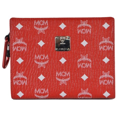 MCM Red White Visetos Canvas Small Zip Top Pouch Clutch Purse