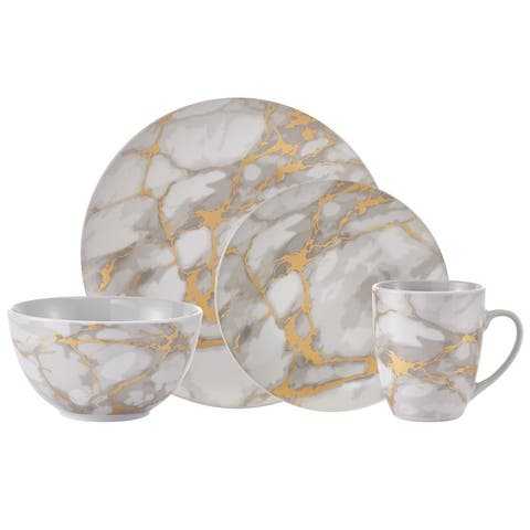 """Dinnerset 16PC Coupe Gold Marble - 10'5"""" x 0'5"""""""
