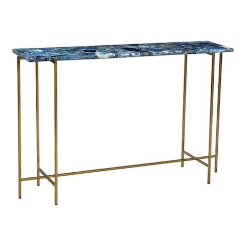 Aurelle Home Modern Agate Stone Top Console Table