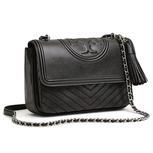 e0651d51a3e4 Shop Tory Burch Fleming Distressed Leather Flap Shoulder Bag in Black -  Free Shipping Today - Overstock - 27430822