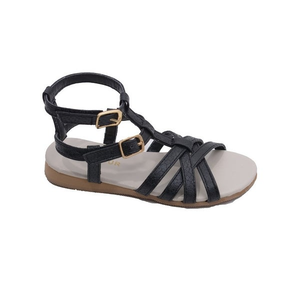18c31ccb8a12d2 L  x27 Amour Toddler Girls Black Faux Python Gladiator Sandals 7-10 Toddler