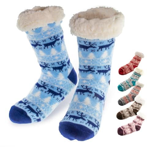 Christmas Fuzzy Slipper Socks Lined With Warm Sherpa - Nonslip Grippers - Holiday Christmas Stockings - Ultra Soft Slipper Socks