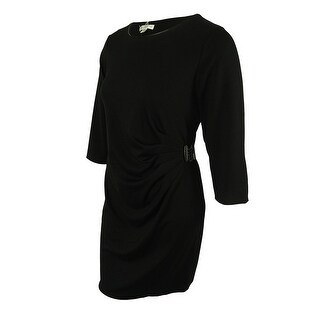 Spense Women's 3/4 Sleeves Ruched Side Dress - Black - 16W