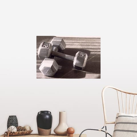 """""""Still life of dumbells, free weight"""" Poster Print"""