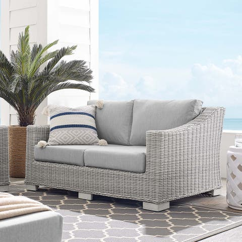 Conway Outdoor Patio Wicker Rattan Loveseat