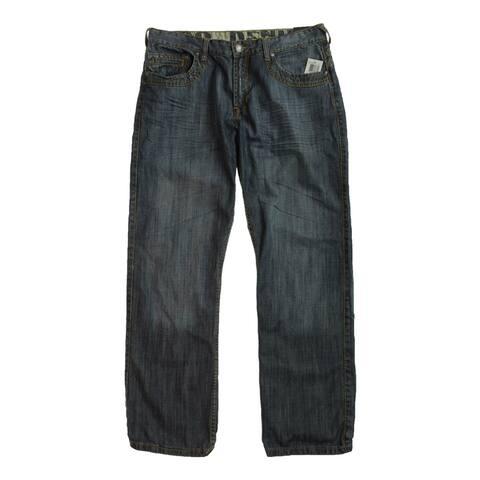 Do Denim Mens Straight Washed Ook Slim Fit Jeans, Blue, 36W x 32L - 36W x 32L