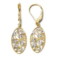 10k Gold with Rhodium-plated Diamond Cut Leverback Dangle Earrings