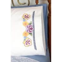 "Pansies - Stamped Perle Edge Pillowcases 30""X20"" 2/Pkg"