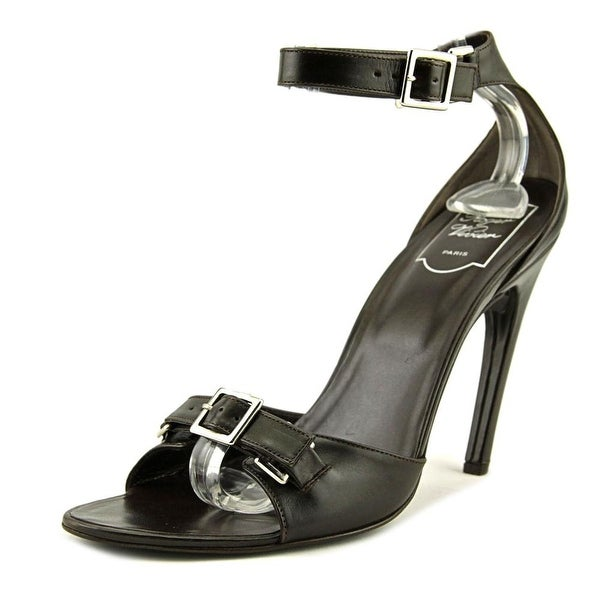Roger Vivier Robbie Mae Women Open-Toe Leather Brown Heels