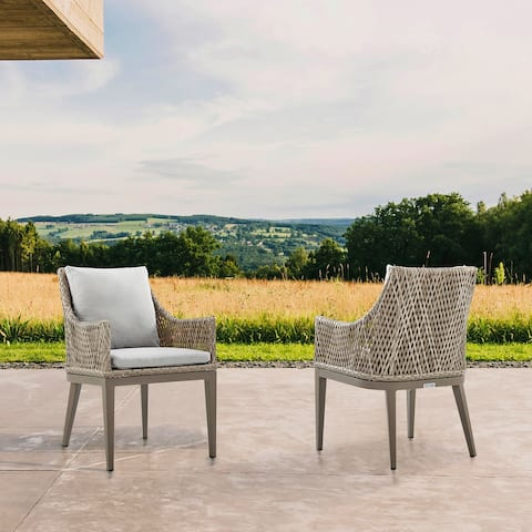 Grenada Outdoor Wicker and Aluminum Gray Dining Chair with Beige Cushions - Set of 2
