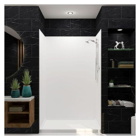"""Transolid Studio 32-in x 60-in x 75-in Right-Hand Alcove Shower Kit - 60"""" x 32"""" x 96"""" - 60"""" x 32"""" x 96"""""""