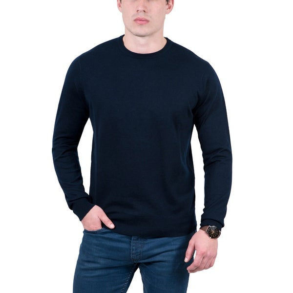 Real Cashmere Dark Blue Crewneck Cashmere Blend Mens Sweater
