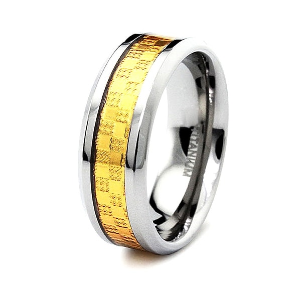 8mm Gold Carbon Fiber Inlaid Polished Titanium Ring (Sizes 6-12)