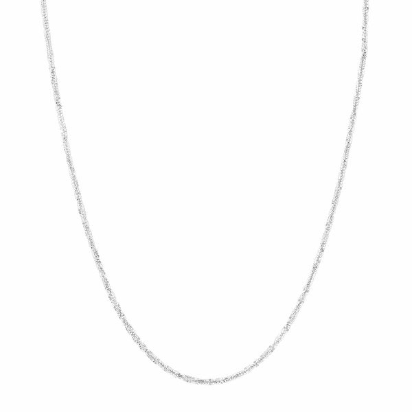 Just Gold 18-Inch Criss-Cross Chain in 14K White Gold