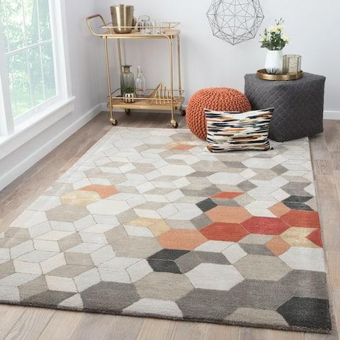 Duras Handmade Geometric Light Grey/ Orange Area Rug