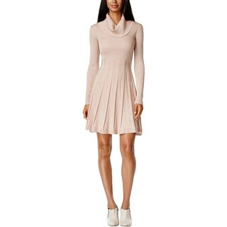 Calvin Klein Womens Sweaterdress Cowl Neck Metallic