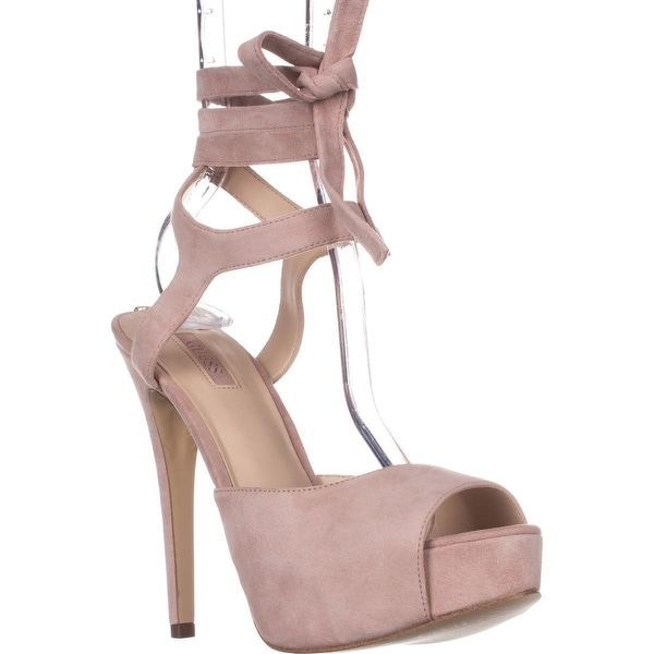 Guess Kassie Platform Lace Up Peep Toe Dress Sandals, Light Pink Suede