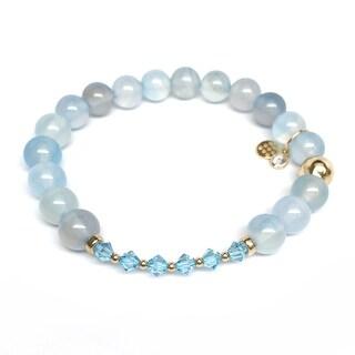 """Aquamarine Daisy 7"""" Bracelet"""