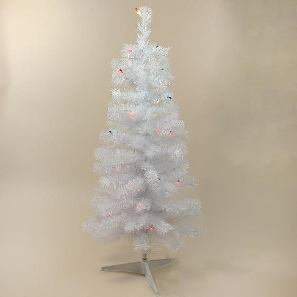 "3' x 18"" Pre-Lit Slim White Tinsel Artificial Christmas Tree - Multi Lights"