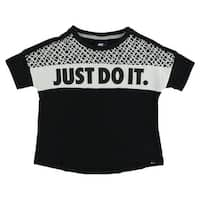 Nike Baby Girls Prep Just Do It Shirt Black - BLACK/WHITE