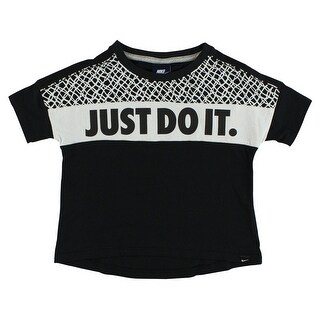 Nike Baby Girls Prep Just Do It Shirt Black - Black/White