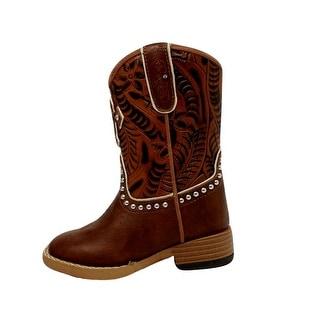 Blazin Roxx Western Boots Girls Cross Kids Studs Infant Brown 4418402