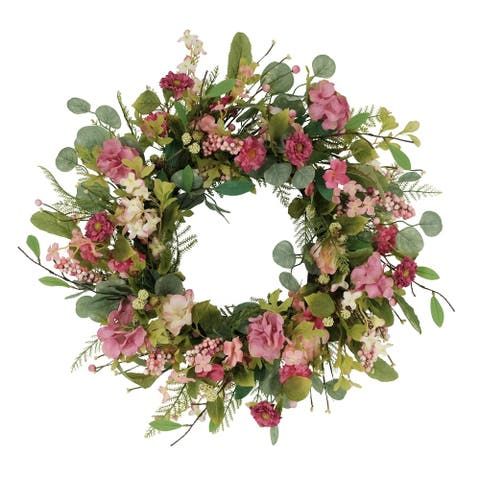 """24"""" Artificial Chrysanthemum And Hydrangea Floral Spring Wreath"""