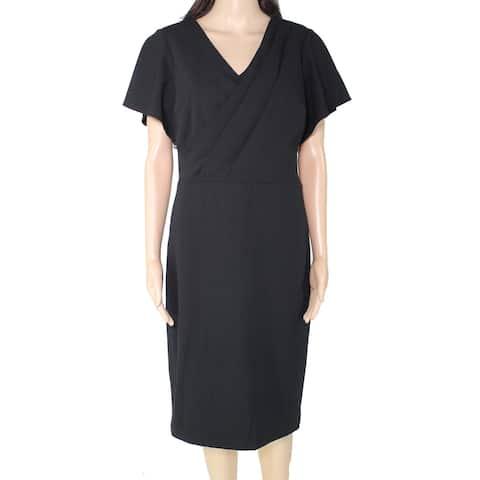 Lauren by Ralph Lauren Women's Sheath Dress Black Size 12 Surplice