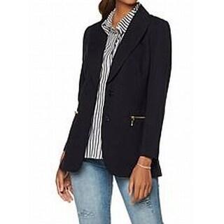DG2 By Diane Gilman NEW Dark Blue Womens Size XL Zip-Pocket Blazer